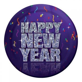 8 Assiettes Happy New Year Danse