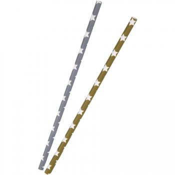 10 Pailles Papier Etoiles Gris/Bronze
