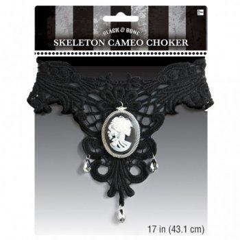 Collier Gothique Squelette Noir/Blanc
