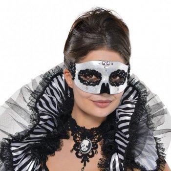 Masque Loup Vénitien Argent irisé