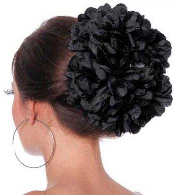 Grosse Fleur sur Barrette Noir