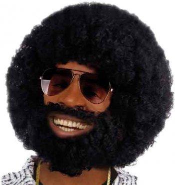 Perruque Afro funk avec barbe et moustache