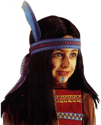 Perruque d Indien avec bandeau à plume - enfant