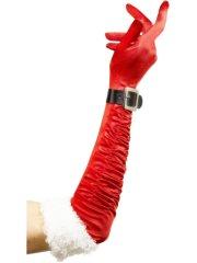 Long Gants de Noël Rouge et Blanc