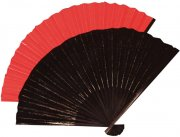 Eventail chinois tissu rouge