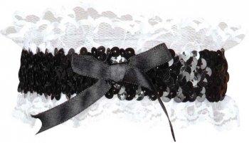 Jarretière noir et blanc paillettes et dentelle