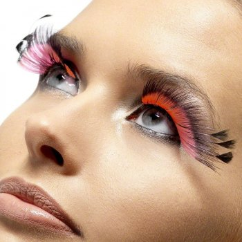 Faux Cils Plumes Roses