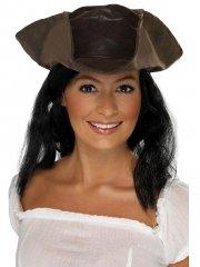 Chapeau style Cuir avec Cheveux