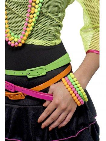 Bracelets de Perles Couleur Fluo 80 s