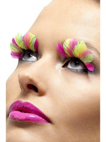 Faux cils Plumes Multicolores - rose/vert
