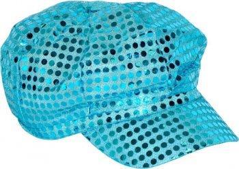 Casquette Disco Paillettes Turquoise