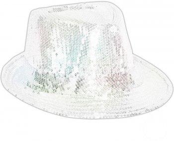 Chapeau Disco Paillettes Blanc nacré