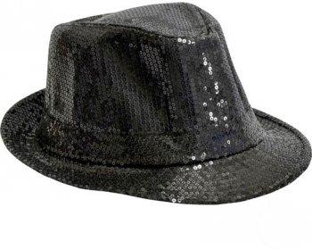 Chapeau Disco Paillettes Noir