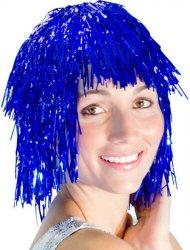 Perruque Disco Paillettes Bleue
