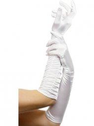Gants Longs plissés Satin blanc