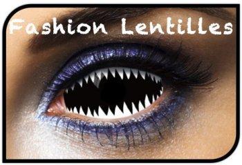 Lentilles Sclera Requin Noir et Blanc (1 an)