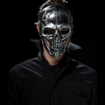 Masque Squelette imitation métal Mâchoire mobile - PVC