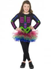 Déguisement Squelette Girly Néon Taille 7-9 ans