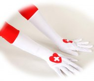 Gants Longs Infirmière Blanc/Rouge