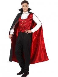 Déguisement de Comte Vampire Cape rouge et noire