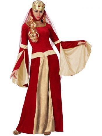 Déguisement de Dame Médiévale Rouge/Or