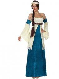 Déguisement de Dame Medievale Bleu/Or