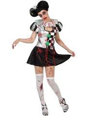 Déguisement de Clown Arlequin zombie - femme