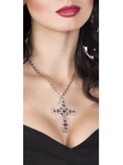 Collier Gothique Crucifix Rubis