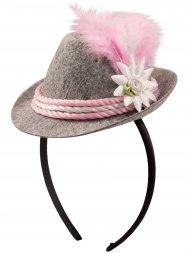 Serre-Tête Mini Chapeau Bavarois Gris/Rose