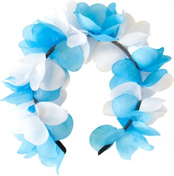 Diadème Bavarois Fleurs Blanc/Bleu