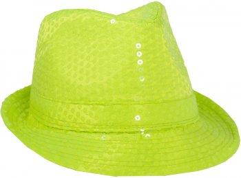 Chapeau Sequin Vert Fluo