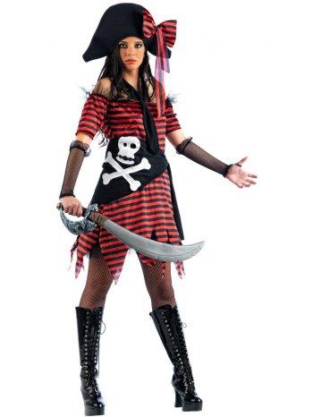 Déguisement de Pirate rayé Rouge et Noir Femme