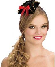 Mini Chapeau Pirate Femme Noir/Rouge