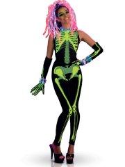 Déguisement Squelette TechnoGirl Phosphorescent