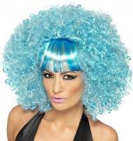 Perruque Afro Popstar Bleu