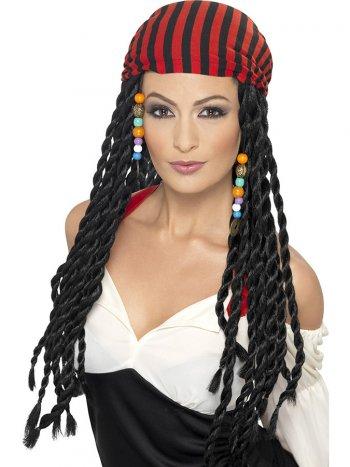 Perruque à Coiffe Pirate Femme Rouge/Noir