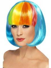 Perruque Crazy Color Bleue à Frange multi