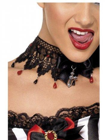 Collier Gothique Dentelles, Perles et Crucifix