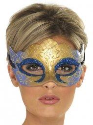 Masque Loup Vénitien Or et Bleu