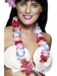 Collier Hawaï Fleurs Rose/Rouge/Bleu
