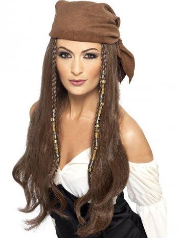 Perruque à Coiffe Pirate Femme Brun