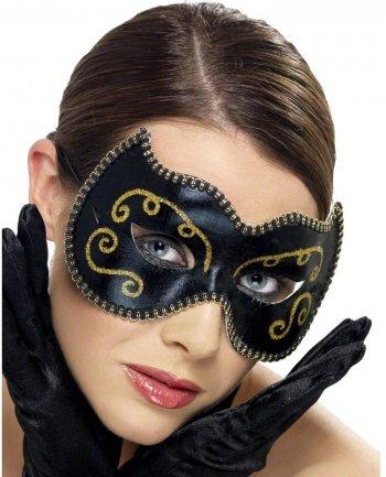 Masque Loup Noir et Doré