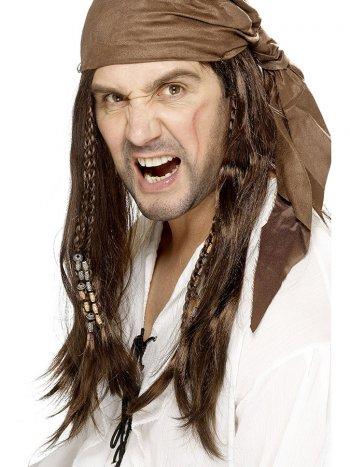 Perruque à Coiffe Pirate Homme Brun