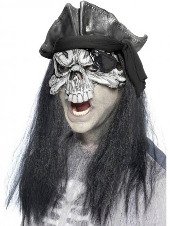 Masque mi-visage Capitaine Pirate Squelette avec cheveux