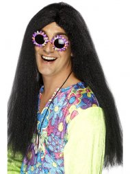 Perruque noire Hippie Homme