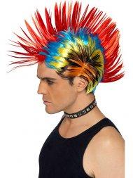 Perruque Crête Multicolore Punk 80's