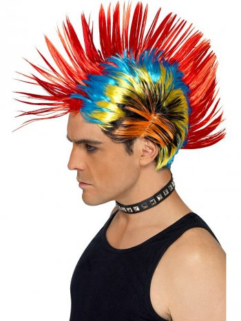 Perruque Crête Multicolore Punk 80 s