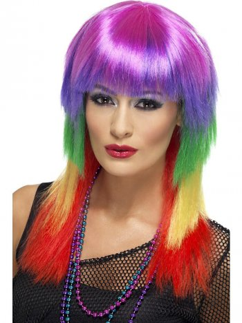 Perruque Rock Multicolore femme 80 s