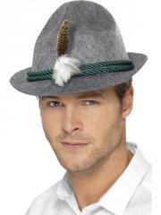 Chapeau Bavarois Gris à plumes