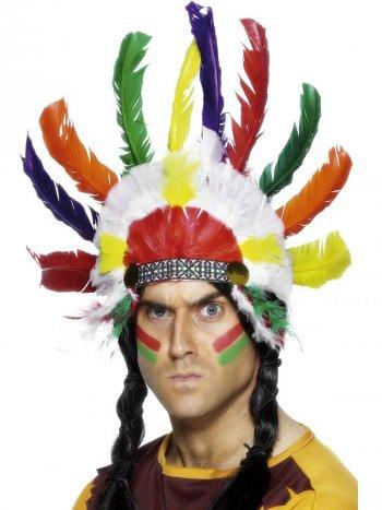Coiffe d Indien Plumes Multicolores